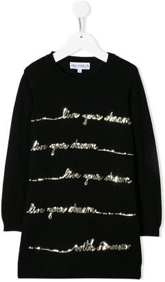 Simonetta sequin embellished sweater dress