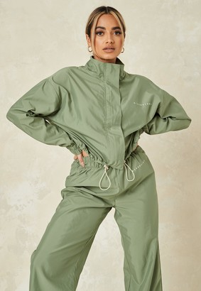 Missguided Khaki Co Ord Lightweight Half Zip Shell Top