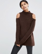 Asos Jumper In Rib With Cold Shoulder