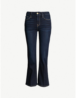 Frame Ladies Blue Cotton Grained Le Crop Mini Boot Mid-Rise Flared Jeans, Size: 23
