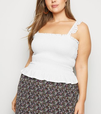 New Look Curves Shirred Broderie Frill Cami