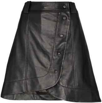 Ganni wrap-around buttoned mini skirt