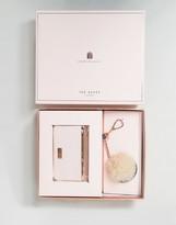 Ted Baker Zip Top Card Holder & Faux Fur Pom Gift Set