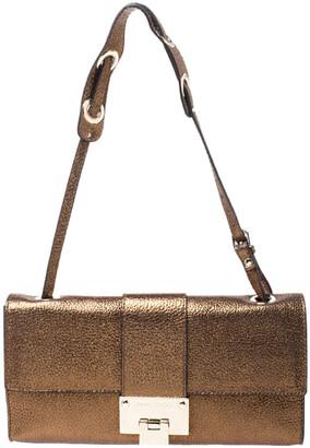 Jimmy Choo Metallic Gold Leather Rebel Mini Shoulder Bag