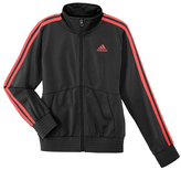 adidas Black & Shock Red Track Jacket - Girls