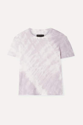 RtA Rain Cropped Tie-dyed Cotton And Cashmere-blend Jersey T-shirt - Lavender