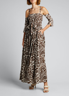 Rosie Assoulin Cold-Shoulder Paisley Linen Maxi Dress