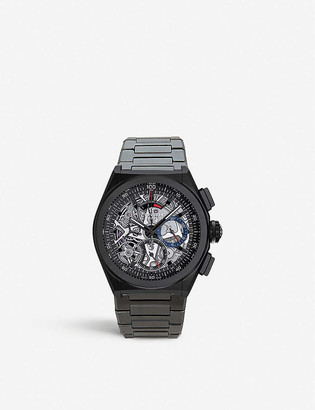 Zenith 24.9000.9004/78.R582 Defy El Primero aluminium and leather strap chronograph watch