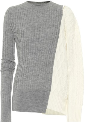 Sacai Ribbed and cable-knit wool sweater