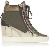 Giuseppe Zanotti Metallic leather wedge sneakers