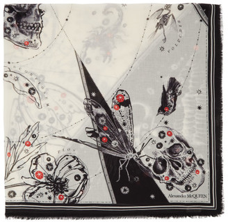 Alexander McQueen Off-White and Black Cosmos Shawl