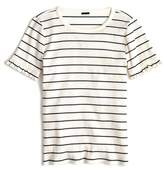 J.Crew J. CREW Ribbed Stripe Tee with Ruffle Sleeves
