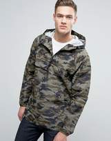 Pull&bear Lightweight Overhead Jacket With Hood In Green Camo