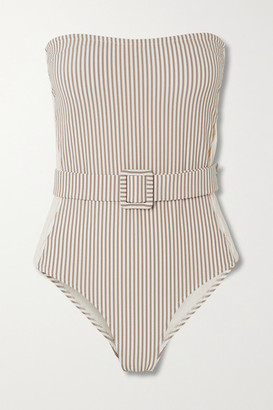 Evarae Uri Belted Cutout Striped Seersucker Bandeau Swimsuit