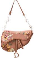 Christian Dior Satin Embroidered Saddle Bag