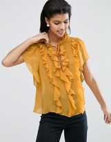 Asos Ruffle Blouse with Short Sleeve & Tie