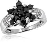 Ice 1 CT Round Black and White Diamond Sterling Silver Star Cluster Ring by JewelonFire