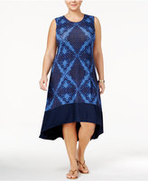 Style&Co. Style & Co Plus Size Printed High-Low Hem Midi Dress