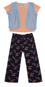 Rare Editions Little Girls Rib Knit top with Vest and Floral Pants, Set of 3