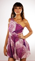 Crinkle Chiffon Asymetrical Dress in Purple Orchid