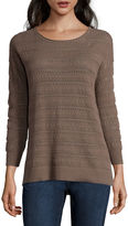 ST. JOHN'S BAY St. John's Bay Long Sleeve Pullover Sweater-Petites