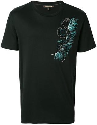 Roberto Cavalli snake embellished T-shirt