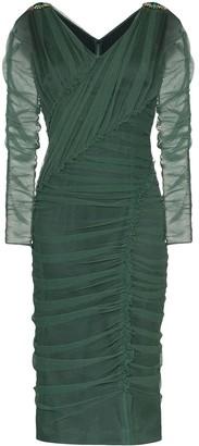 Dolce & Gabbana V-neck ruched mesh dress