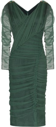 Dolce & Gabbana V-neck ruched mesh dress