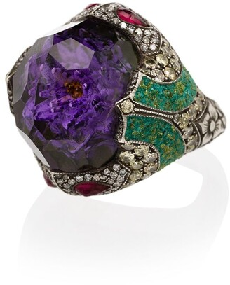 Sevan Biçakci 24kt Yellow Gold Amethyst And Diamond Ring