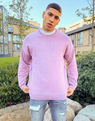 Bershka garment dyed sweater in lilac