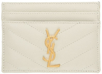Saint Laurent White Monogramme Card Holder