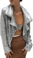 Norma Kamali Women's All Over Sequin Jacket - Silver