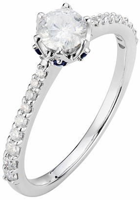 Love Diamond 9ct White Gold 58pt Total Diamond Solitaire Engagement Ring with Sapphire Set Detail