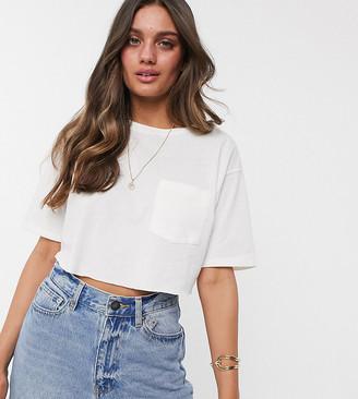 Asos DESIGN Petite super crop t-shirt in linen mix in white