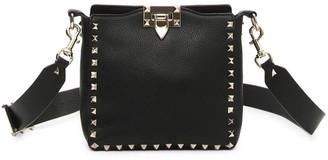 Valentino Rockstud Mini Leather Hobo Bag