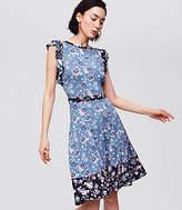 LOFT Petite Mixed Print Flutter Dress