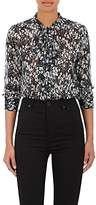Barneys New York WOMEN'S FLORAL SILK TIENECK BLOUSE