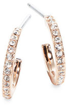 Nadri Small Rose Goldtone Pave Hoop Earrings