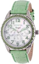 Invicta Women's 12605 Angel White Dial Crystal Accented Lime Green Leather Watch