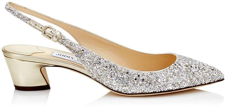 Jimmy Choo GEMMA 40 Champagne Coarse Glitter and Metallic Nappa Leather Slingback