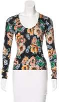 Dolce & Gabbana Floral Print V-Neck Sweater