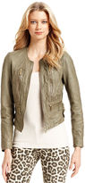 MICHAEL Michael Kors Jacket, Leather Zip-Front Moto