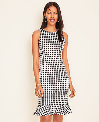 Ann Taylor Petite Plaid Ruffle Hem Sheath Dress