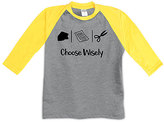 Urban Smalls Heather Gray & Yellow 'Choose Wisely' Raglan Tee - Toddler & Boys