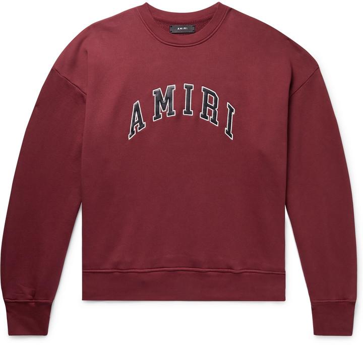 Amiri Logo-Appliqued Leather-Trimmed Loopback Cotton-Jersey Sweatshirt - Men - Burgundy
