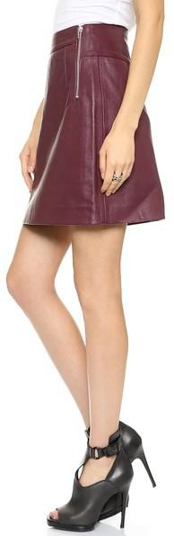 McQ Alexander McQueen Side Zip Leather Skirt