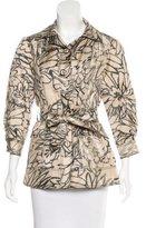 Oscar de la Renta Abstract Print Belted Jacket