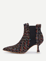 Shein Mixed Pattern Court Heeled Ankle Boots