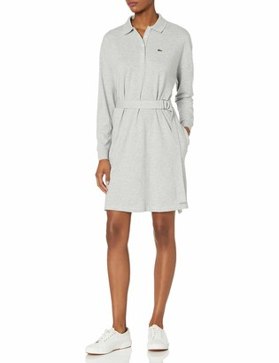 Lacoste Women's Long Sleeve Belted Pique Polo Dress