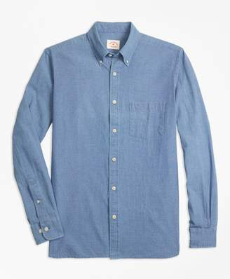 Brooks Brothers Indigo-Dyed Micro-Check Cotton Twill Sport Shirt